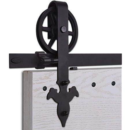 CCJH 9FT-275cm Quincaillerie Kit de Rail Grande Roue Roulettes pour Porte Coulissante Hardware pour une Porte Suspendue en Bois Sliding Barn Door Hardware Big Wheel Anchor Shaped