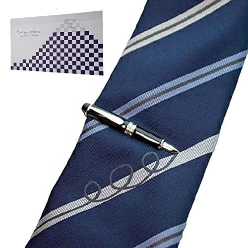 遊び心溢れるタイピン&シルクの高級ネクタイ「万年筆」 & おもてな紙セット SWANK(スワンク)シルク100%