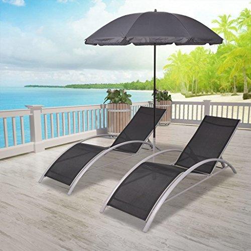 Tidyard 2X Verstellbare Doppel Sonnenliege Doppelliege Aluminium mit Sonnenschirm, Gartenliege 2 Personen Relaxliege Freizeitliege Liegestuhl für Garten Terrasse Schwimmbad, Schwarz