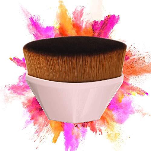 Foundation Makeup Brush Flat Top Kabuki Hexagon Face Blush Liquid Powder Foundation Brush for ALL LADY Blending Liquid, Cream or Flawless Powder Cosmetics with Bonus Protective Case (Black) … (Pink)