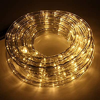 TrendMakers 30 Metre Multi Function Warm White LED Rope Light Ideal for Christmas Displays