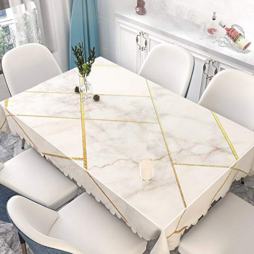 XIAOE Plastic Tablecloth Wipe Clean Silver Tablecloth White Table Cloths Rectangular Table Cover Waterproof Oil Proof Various Sizes Home Kitchen Decoration Living Room 137 * 220cm