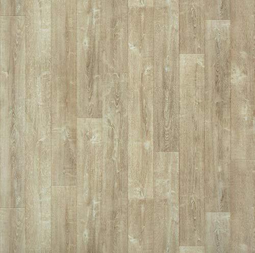 JOKA PVC Vinyl-Bodenbelag in Eiche Rustikal Hell | CV PVC-Belag verfügbar in der Breite 200 cm & Länge 500 cm | CV-Boden wird in benötigter Größe als Meterware geliefert | rutschhemmend