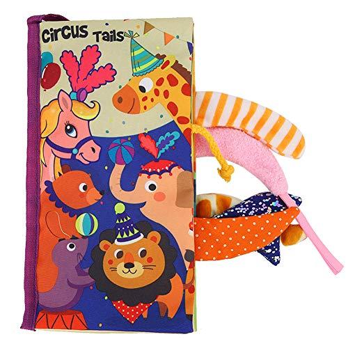 Libro de Tela de Tela Suave para bebés, Rompecabezas de educación temprana Tela de Cola Libros sensoriales Aprendizaje Descubrimiento Regalo de Libro antidesgarro(Circo)