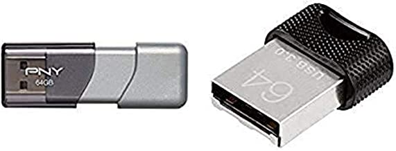 PNY Turbo 64GB USB 3.0 Flash Drive - (P-FD64GTBOP-GE) and PNY Elite-X Fit 64GB 200MB/sec USB 3.0 Flash Drive (P-FDI64GEXFI...