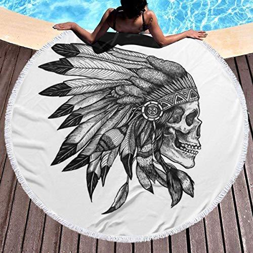 Native Art - Serviette de plage ronde et épaisse - Avec pompons circulaires - Couverture de pique-nique en microfibre - Décoration de plage pour femme