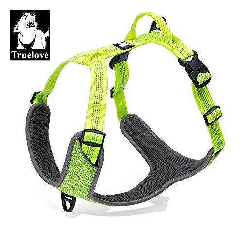 TRUE LOVE TLH6071 Hundegeschirr, verstellbar, reflektierend, kein Ziehen, langlebig, für Autoausflüge, XL, Neongelb