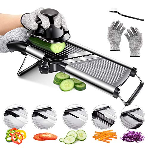 of slicer set with adjustable mandolines Mandoline Food Slicer Adjustable Thickness for Cheese Fruits Vegetables Stainless Steel Food Cutter Slicer Dicer with Extra Brush and Blade Guard for Kitchen