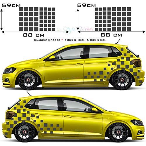 1A Style Sticker Auto Aufkleber Seitenaufkleber Hexa Matrix Kasten Set Racing Cubes Rennflagge Dekor Car Tattoo New