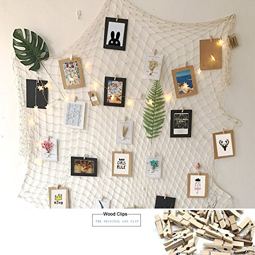 Joynic Photo Hanging Display Fish Net Wall Decorations Picture Frames & Prints Multi Photos Organizer with 40 Clips for Party Home Living Room Bedroom (White)