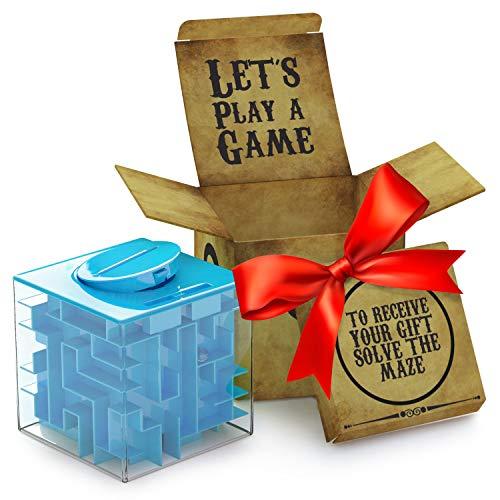 Huchas Originales aGreatLife Caja Money Maze Laberinto De Dinero | Cubo Puzzle Rompecabezas | Idea Original Para Regalar A Niños Y Adultos | Kit De Recompensa Reutilizable | Laberinto Con Sorpresa | Lado 7.6 Cm, Azul