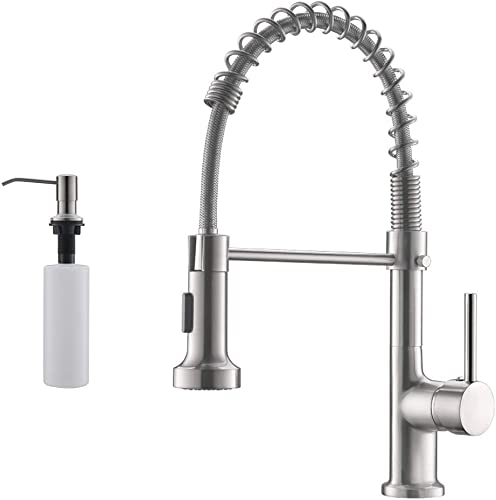 lowest GIMILI Spring Kitchen discount Sink Faucet with Soap Dispenser 2021 Brushed Nickel sale