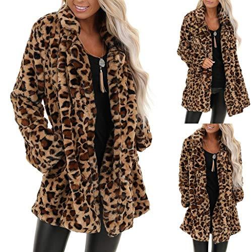 AIORNIY Damenpullover Langarm Elegant Damen Tops Winter Leopard Kunstpelz Tasche Fuzzy Warm ÜBergroßE Outwear Länger Mantel Oberteile Herbst Sexy Bluse Frauen