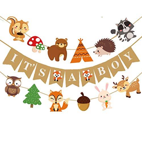 Woodland Creatures Fox Baby Shower It's A Boy Banner Forest Animal Friends Felt Garland Baby Shower Decor