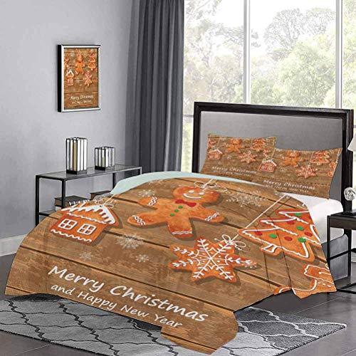 Juego de fundas de edredón de, divertidas galletas de acuarela sobre tablas de madera, deliciosa repostería navideña, moderno y liviano, juego de colchas, uñas de gato, no se enganchan, marrón, naranj