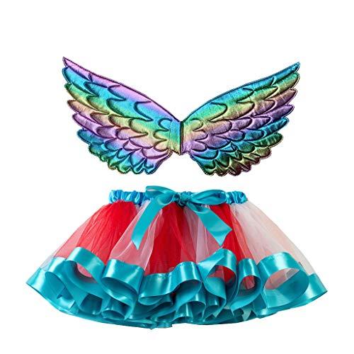 JiaMeng 2-11 Jahre Kinder Baby Mädchen Weihnachten Kostüm Süß und Lieblich Regenbogen Netto Garn Rock Tutu + Wing Zweiteiliger Anzug