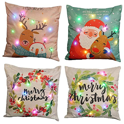 Ubrand 4 Pack Led-lights Pillowcase, Christmas Throw Pillow Covers Soft Linen Cushion Cases with LED Lights For Home Living Room Bedroom Office Christmas Decoration(45 * 45cm)