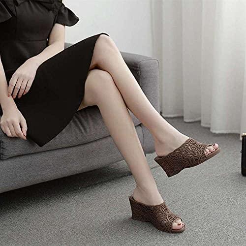 ypyrhh Zapatos Unisex Adulto,Zapatillas de Cristal de plástico de cuña, Zapatos de Jalea Transparentes-marrón_39,Zapatillas Flip Flops Sandal