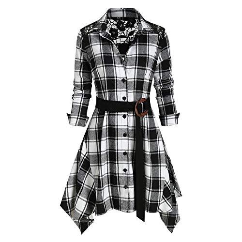 N\P Vestido de la camiseta del vestido de la camiseta de los vestidos de empalme del cordón de las mujeres a cuadros
