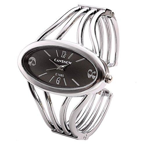 JSDDE - Orologio al quarzo, da donna, alla moda, con quadrante ovale, colore: grigio