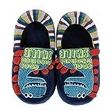 Kids Dinosaur House Slippers for Girls Boys - Cute Dinosaur Warm Winter Shoes (Toddler/Little Kid), Navy Blue Size 9-10
