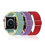 baklon 3 Piezas Compatibles con Correa de Reloj Apple 42mm 44mm 45mm,Correa de Nylon de Repuesto Compatible con iWatch Series SE/7/6/5/4/3/2/1