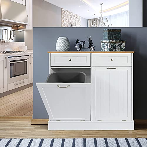 UEV Double Kitchen Trash Cabinets,Two Tilt Out Trash Cabinets with Solid Hideaway Drawers,Free Standing Wooden Kitchen Trash Can Recycling Cabinet Trash Can Holder (White)