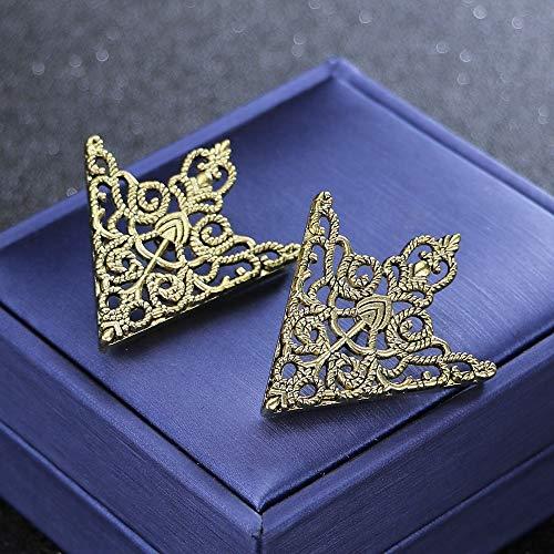 I-Remiel Triángulo Moda Vintage Cuello de la Camisa Pin for Hombres y Mujeres Ahuecado Broche Corona Esquina del Emblema joyería y Accesorios (Talla : Antique Bronze Plated)
