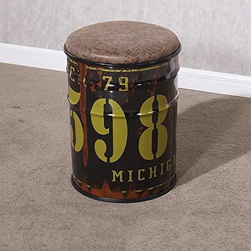 Taburete de barra de pintura de hierro taburete de cubo, barril de aceite estilo retro americano, cubo de almacenamiento de metal de barra, bar restaurante Cafe Family Hotel LYFWMGOD/B