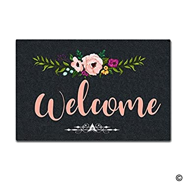 MsMr Door Mat Entrance Mat Welcome Flowers Non-slip Doormat 23.6 by 15.7 Inch Machine Washable Non-woven Fabric