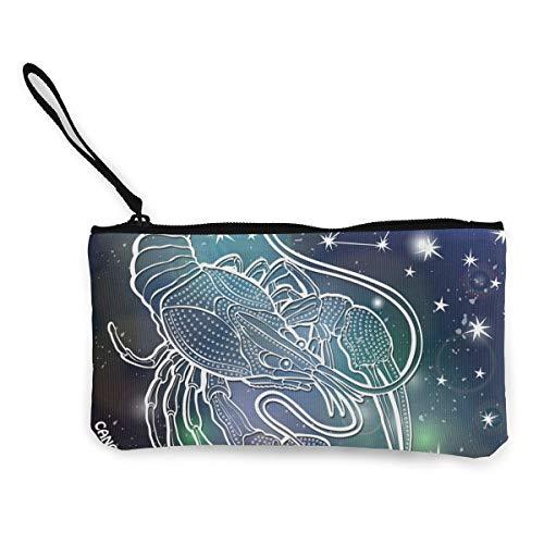 Wrution Krebs Horoskop Sternbild Sterne Himmelsterne Leinwand Münztasche Reißverschluss kleine Geldbörse weiblich tragbar große Kapazität personalisiert