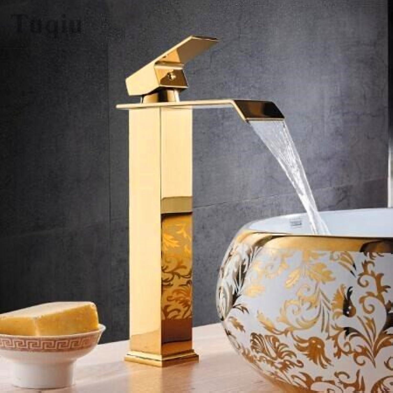 Golden Square Waschbecken Armaturen Wasserfall einzigen Griff Waschtisch Armatur Waschbecken Wasser Kran Gold, Gold