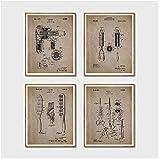 Unbekannt Haar Patent Poster und Drucke Friseursalon Wandkunst Dekor Vintage Friseur Blueprint...
