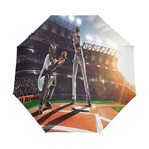 SUHETI Regenschirm Taschenschirm,Professionelle Baseballspieler im Stadion Spielen Pich Sports Print,Auf Zu Automatik,windsicher,stabil