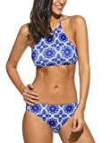 Ekouaer Womens Forest Leaves Printing High Neck Halter Bikini Set Swimsuit (Blue, M)