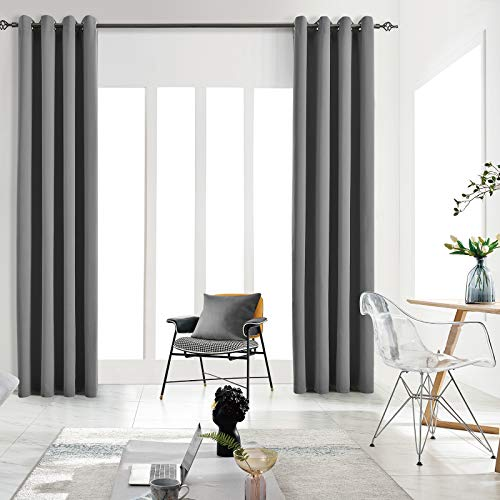 JSFLY Blackout Curtains for Bedroom Thermal Insulated Solid Grommet Window Drapes for Living Room , Set of 2 Curtain Panels 62 W x 106 L inch Long Dark Gray