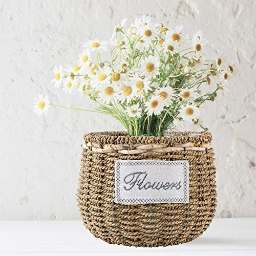 Woven Storage Chest, Household Natural Seagrass Hand‑made Woven Storage Baskets for Garden Flower Vase