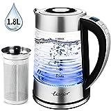 Uarter 1.8L Glas Wasserkocher Elektrischer Wasserkessel Teesieb Einstellbare Temperatur mit...
