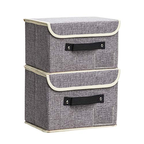 Small Storage Bins with Lids 2 Pack Linen Collapsible Cube Storage Basket with Handle Janes Home Foldable Fabric Storage Box with lids Organizer for Toys Clothes Closet Ornament Grey