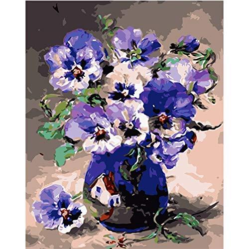 Pintura Digital DIY florero Azul púrpura Violeta Flor Lienzo decoración de la Boda Imagen de Arte 40X50cm sin Marco