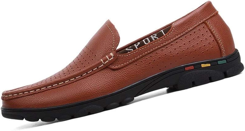 EGS-schuhe Driving Loafer für für Herren Boat Moccasins Slip On aus echtem Leder Hollow Breathable Lightweight Flexible,Grille Schuhe (Farbe   Braun, Größe   45 EU)  hochwertige Ware und bequemer, ehrlicher Service