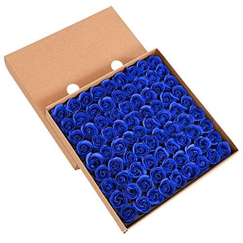 TININNA 81 Stück Handgefertigt Rose Blume Rosen-Duftseifen in Geschenk-Box Hochzeit Tiefes Blau EINWEG Verpackung
