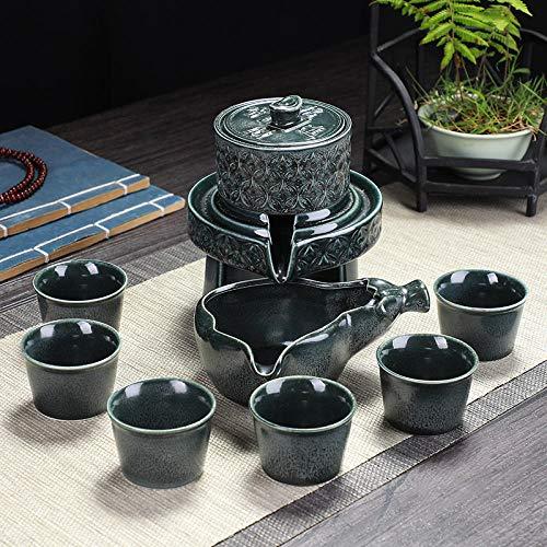 Juego de té, tetera simple para el hogar, molino de piedra, tetera de cerámica perezosa, taza anti escaldado, tetera semiautomática-Molino de piedra giratorio-cerámica antigua verde (con 6 tazas)