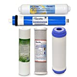 Puroflo 5pcs RO Water Filter Replacement Set, 5 Stage 1 Year Reverse Osmosis Purifier, Under Sink Drinking System Filtration Kit