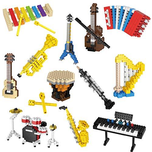 FUN LITTLE TOYS 12 Boxes Mini Music Building Blocks, Musical Instruments Set Party Favors for Kids