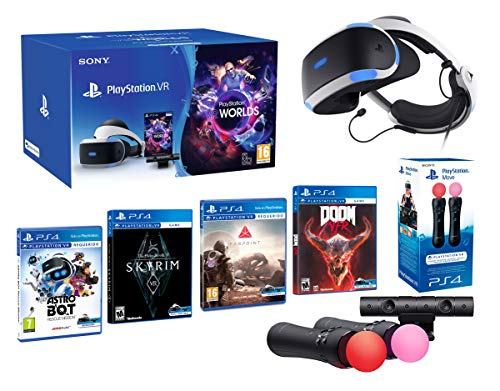 PlayStation VR2 [MegaPack]: Skyrim + Doom + Farpoint + Astro Bot + VR Worlds + 2 Mandos Twin Move Controllers