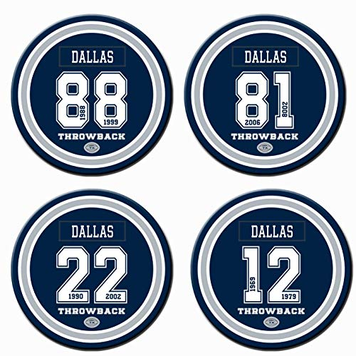 Set of 4 Cool Coasters for Men, Dallas Coasters for Men, Ceramic Non Cowboys Coasters, for Cowboys Man Cave Cup Mug Table Home Decor, Cowboys Party Supplies Decorations, Cowboys Gifts for Women Men
