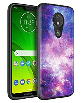 GUAGUA Moto G7 Power Case Moto G7 Supra/Moto G7 Optimo Maxx Case Space Nebula Slim Thin Noctilucent Luminous Cover Glow in The Dark Shockproof Protective Case for Motorola Moto G7 Power Purple/Black