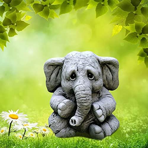 Creative Simulation Elephant Garden Decoration, 2021 The Newest Courtyard Balcony Statue Ornament, Elephant Figurine Toy, Miniature Realistic Resin Animal Elephant Model Ornament