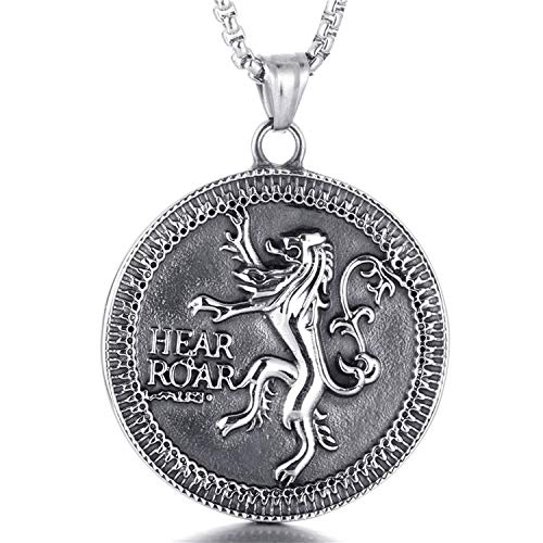 ZHBSS Nueva Titanium Steel Lannister Badge Pendant Punk Necklace Retro Trendy Men 's Juego de Acero Inoxidable Colgante